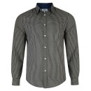 Mens Ex Next Long Sleeve Shirt in Mini Check Black-White