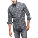 Mens 100% Cotton Point Zero Checked Shirt in Grey (Black)