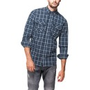 Mens 100% Cotton Point Zero Checked Shirt in Midnight