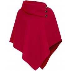 Wool Poncho/Cape Top In Red