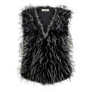 Ladies Feather Gilet H01 in Black