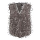 Ladies Feather Gilet H01 in Mocha