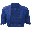 Crochet Knitted Bolero Shrug In Blue