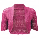 Crochet Knitted Bolero Shrug In Cerise