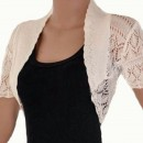 Crochet Knitted Bolero Shrug In Cream