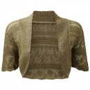 Crochet Knitted Bolero Shrug In Khaki