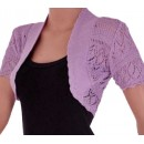 Crochet Knitted Bolero Shrug In Lilac