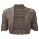 Crochet Knitted Bolero Shrug In Mocha