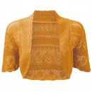 Crochet Knitted Bolero Shrug In Mustard