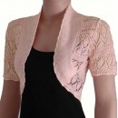 Crochet Knitted Bolero Shrug In Peach