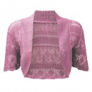 Crochet Knitted Bolero Shrug In Pink