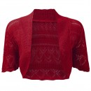 Crochet Knitted Bolero Shrug In Red
