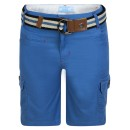 Kids Belted Multipocket Shorts in Blue