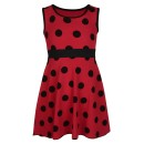 Girls Casual Polka Dot Design Dress in Red