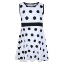 Girls Casual Polka Dot Design Dress in White
