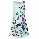 Girls Butterfly Print Dress in Mint