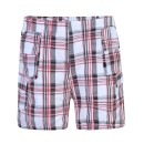Boys Short Checked Shorts in Black-Red