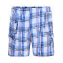 Boys Short Checked Shorts in Red-Blue