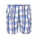 Boys Short Checked Shorts in Navy-Orange