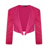 Girls Lace Sleeve Open Front Bolero In Cerise