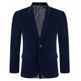 Boys Velvet Blazer in Navy