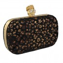 Faux Fur Animal Box Clutch Skull Clasp in Black
