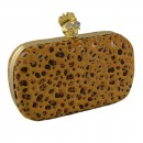 Faux Fur Animal Box Clutch Skull Clasp in Yellow