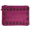 Skull Embosed Evening Clutch/Handbag in Rose