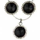 Cubic Zirconia Pendant & Earring Set in Black