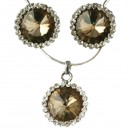 Cubic Zirconia Pendant & Earring Set in Champagne