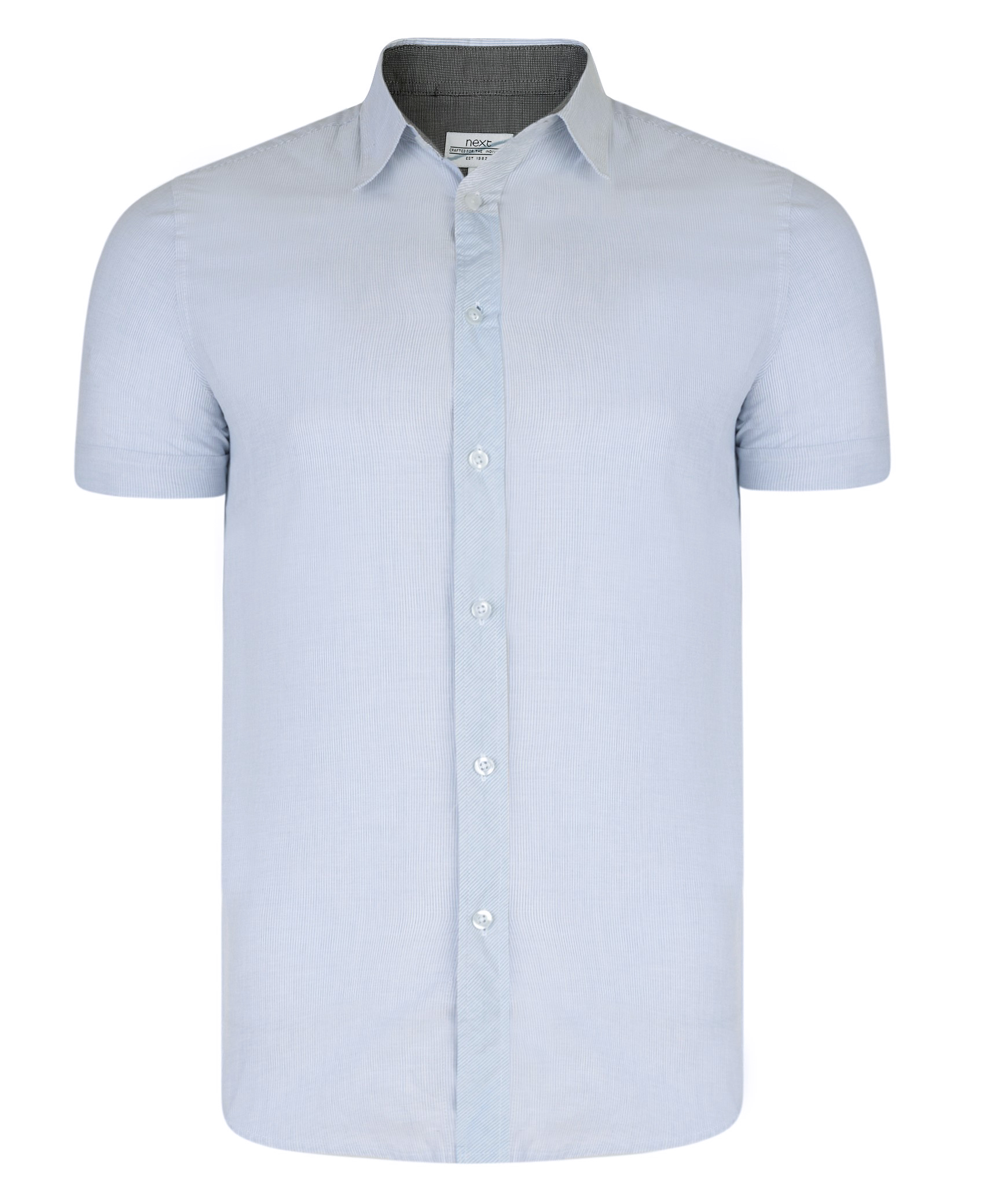 Mens Short Sleeve Ex Next Shirt In Pinstripe Light Blue
