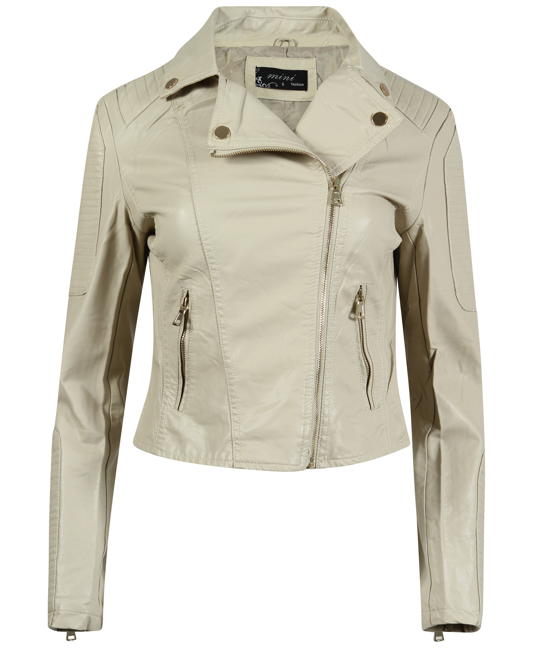 ladies biker jacket in beige. Black Bedroom Furniture Sets. Home Design Ideas