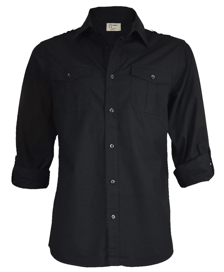 Mens Long Or Rolled Up Sleeve Shirt In Black