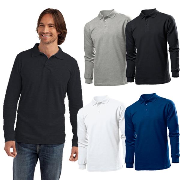 Men long sleeve polo shirt mens 100 cotton pique t shirt for 100 cotton work shirts