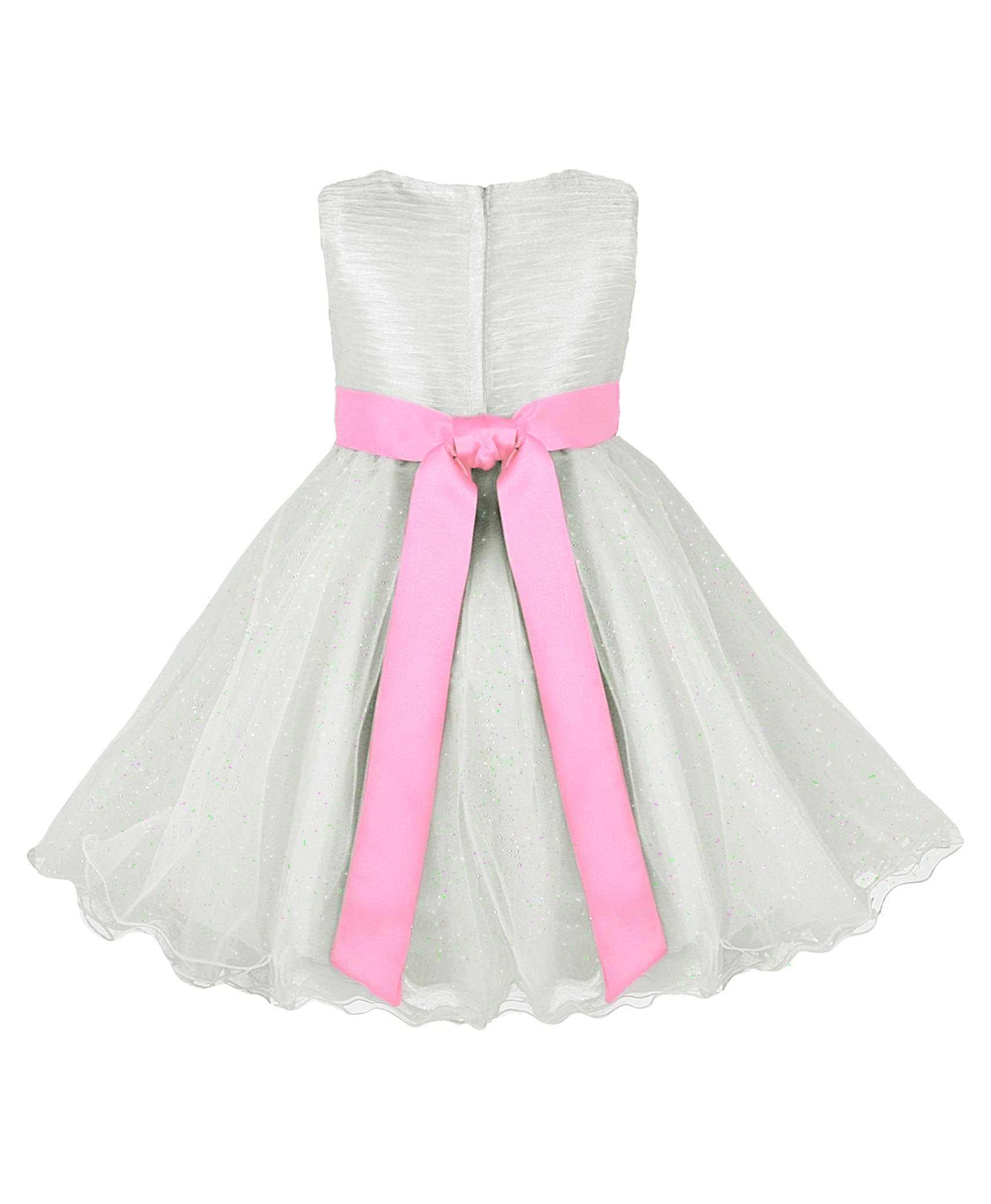Girls Ivory Party Dress With Contrast Bow In Baby Pink