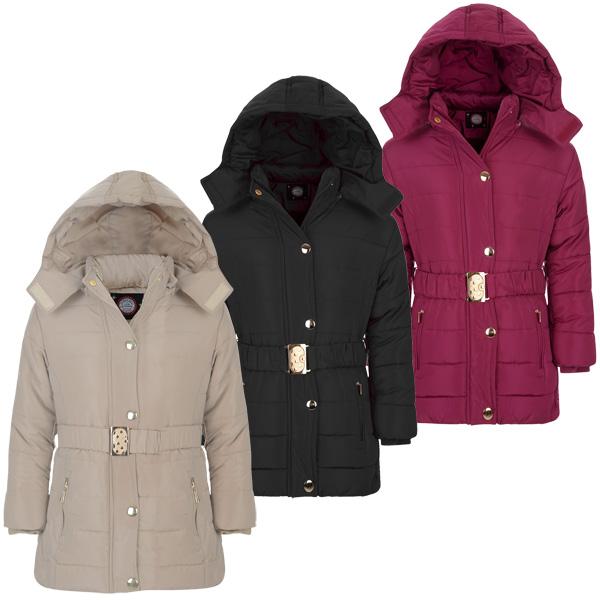fille long avec ceinture matelass veste hiver enfants detach capuche rembourr ebay. Black Bedroom Furniture Sets. Home Design Ideas