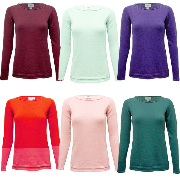 Women Sweater Plain Knitted Ladies Cotton Jumper Boat Neck Basic Soft Material