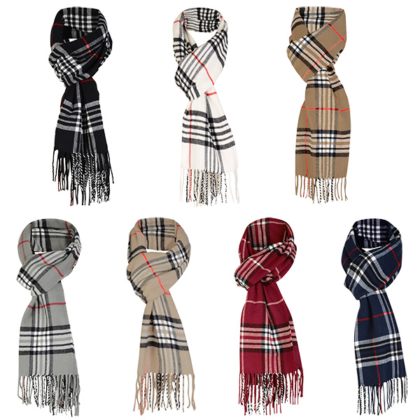 Mens Wool Blend Wrap Multi Print Scarf Fringing Long Scarves Cosy Fashion Gift