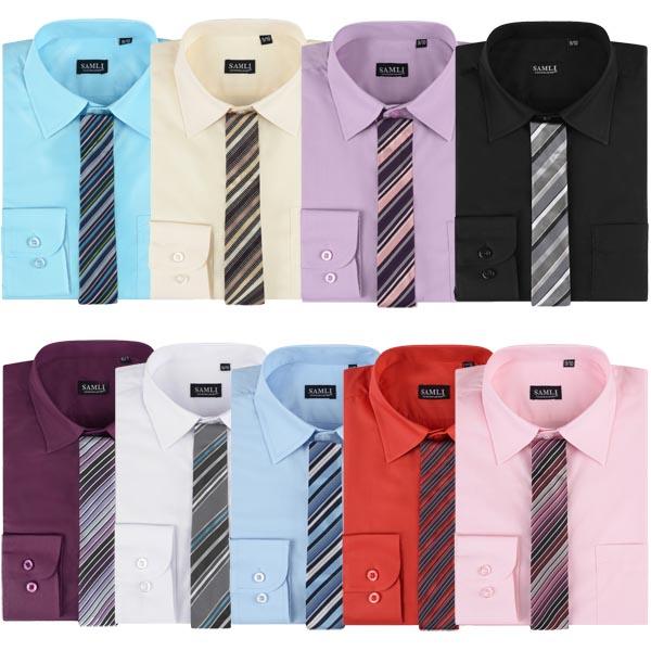 Boys Long Sleeve Formal Shirt and Tie Boys Smart Suit Wedding Shirts