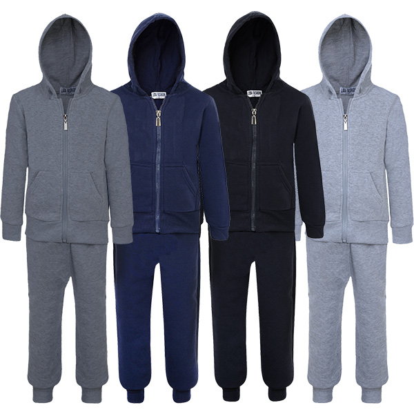 Kids Boys Tracksuit Plain Hooded Jogging Bottoms and Hoodie New Ages 5-16 Years