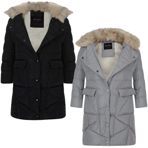 208c5246747 Details about Girls Long Cotton Down Quilted Hooded Winter Jacket Kid Zip  Snap Lapel Coat 3-14