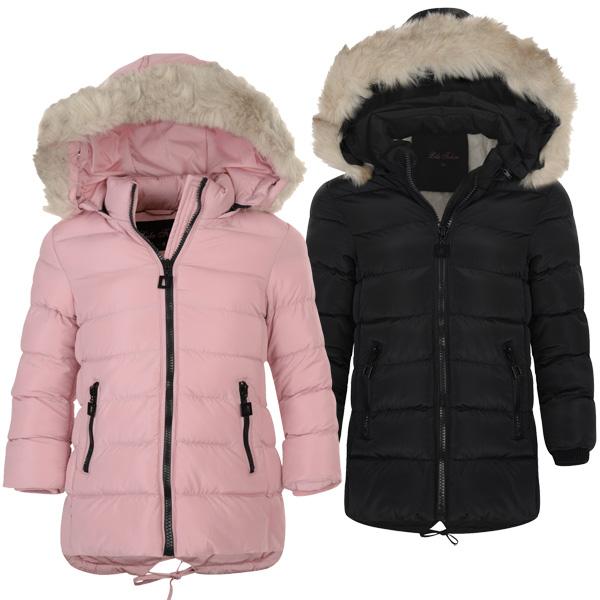2da69a7b1e10 Girls Long Down Quilted Winter Jacket Kids Detach Hood Zip Parka Coat