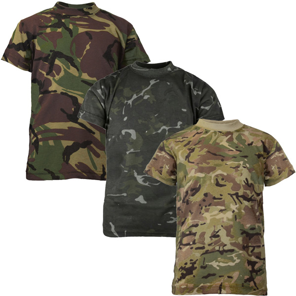 BOYS MILITARY CAMO ARMY T-SHIRT Kids British camouflage soldier top 100/% cotton