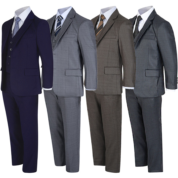 Boys 5 Pcs Formal Suit Jacket Waistcoat Tie Shirt Trousers Wedding Party 1-15 Y