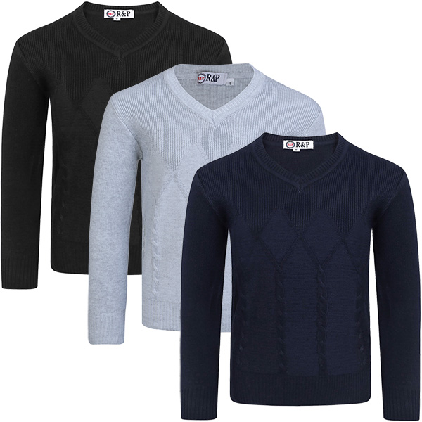 Boys Cable Knitted Pullover Jumper Kids Long Sleeve Sweater Knit Top 3-12 Years