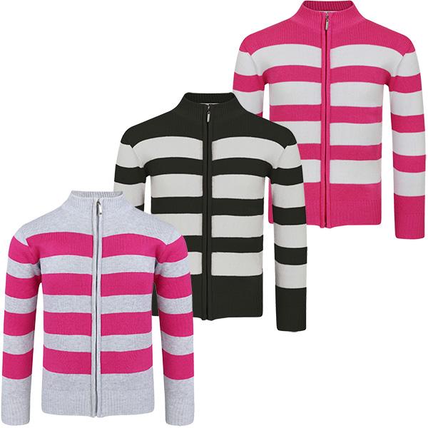 LotMart Girls Striped Knitted Jumper Kids Long Sleeve Zip up Sweater Knit Top