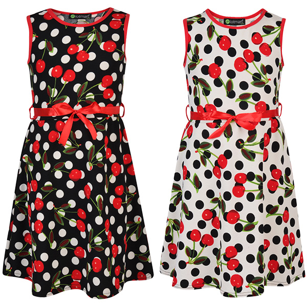 RSVH WBD Women Polka Dot Sleeveless Flared Belted Party Summer Dress Size 8-26