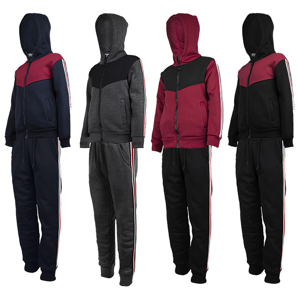 LOTMART Kids Contrast Inserts Zips Hooded Jacket or Trousers