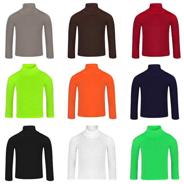 Kids Turtleneck Long Sleeve Plain Basic Roll Neck Top Girls Boys Jersey Polo Top