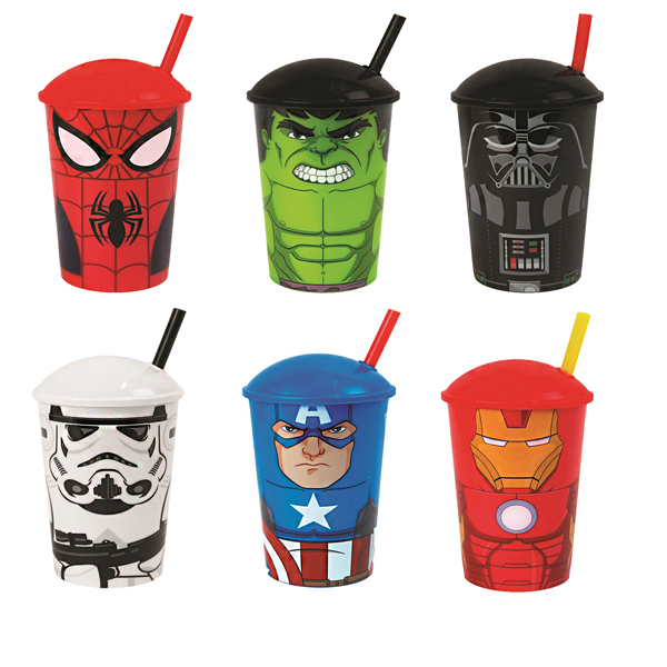 Superhero Themed Disposable Cups with Lid